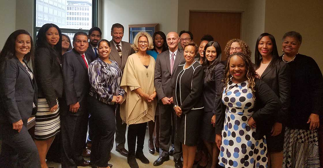 Catalina Cruz, Latino Lawyers of Queens County; Patricia Rodriquez, Capitol District Black and Hispanic Bar Association; Frank Torres, Hispanic Bar Association of Long Island; Vianny Pichardo, Dominican Bar Association; Abid Hossain, Muslim Bar Association; Hon. Richard B. Lowe III, Chair of the Franklin H. Williams Judicial Commission; Honorable Janet DiFiore, Chief Judge of the State of New York, Kaylin Whittingham, Association of Black Women Attorneys; Hon. Lawrence Marks, Chief Administrative Judge of New York State; Yang Chen, Asian American Bar Association; Zenith Taylor, Catholic Lawyers Guild of Queens County; Lenora Foote, Minority Bar Foundation of Western New York and FHW Judicial Commission Member Rippa Gill, South Asian Bar Association of New York; Meredith Miller, The LGBT Bar Association of Greater New York; Paula Edgar, Metropolitan Black Bar Association; Sandra I. Buchanan, Chair of Committee on Diversity and Inclusion (NYSBA)and Joyce Y. Hartsfield